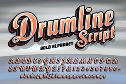 A bold script vector alphabet with metallic and 3d drop shadow effects and a retro flair; good for logos branding, etc.