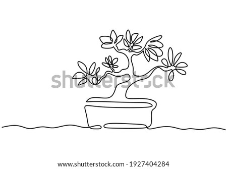 A bonsai tree in pot one continuous line drawing vector isolated on white background with minimal design. Decorative old miniature plants for home interior design. Houseplant concept Photo stock ©