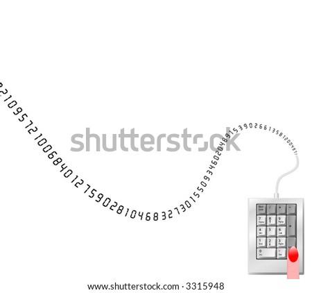 A border background illustrating numeric data input entry. Number crunching illustrated.