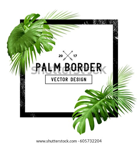A border frame design decorated with floral tropical palm leaves with room for your message. Vector illustration
