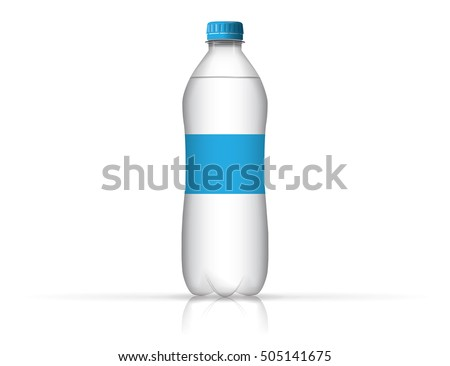 A bottle of water for your design and logo. It is easy to change the color of the roof and labels. Bottle transparent.