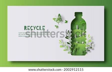 A bottle of water with a green city inside, the idea is to recycle old plastic bottles, think green, paper illustration, and 3d paper.