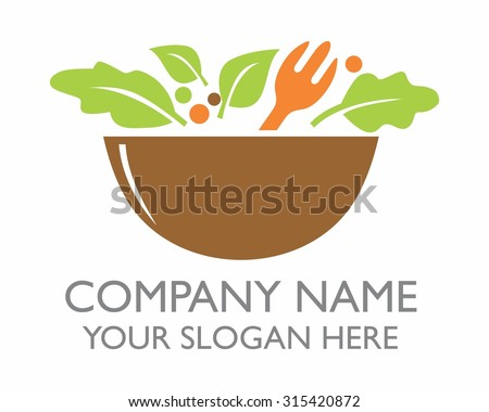 a bowl of healthy salad cartoon character icon logo