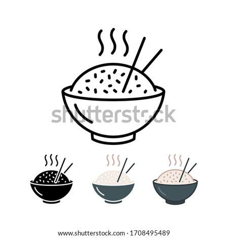 A bowl of hot rice with chopstick, asian food style. Cooked rice or boiled rice. Rice in bowl with chopstick. Vector illustration. Design on white background. EPS 10.