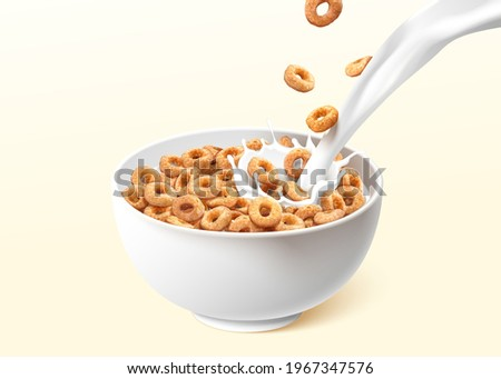 A bowl of ring cereals or cheerios with pouring milk splashes. 3d realistic food element isolated on light yellow background. Сток-фото ©