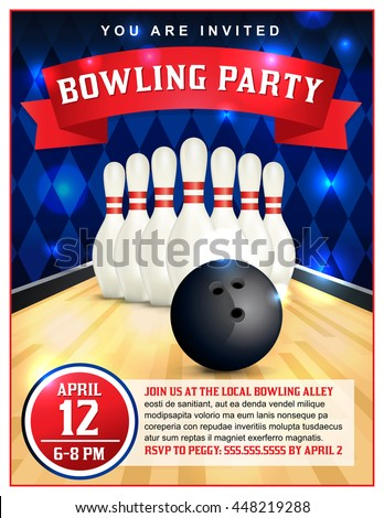 A bowling party flyer template great for birthday parties, bowling leagues and tournaments. Layered vector EPS 10 available. Type is outlined in vector.