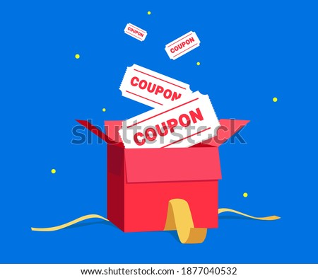a box full of coupons illustration set. red, open, ribbon, present, gift. Vector drawing. Hand drawn style.