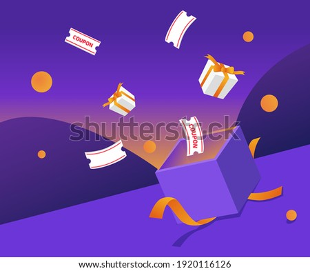 a box of gifts and coupons pouring out illustration set. lotto, fortune, luck, paper, shop. Vector drawing. Hand drawn style.