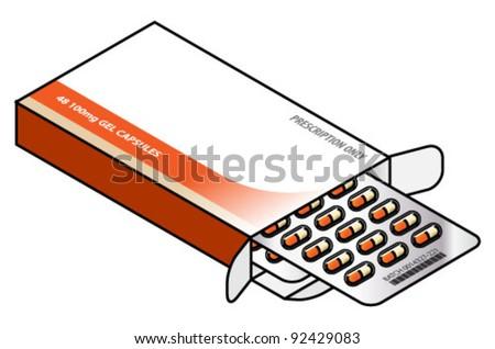 A box of medicine capsules - 24 orange and cream caps in blister packs.