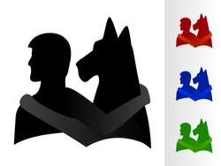 A boy and a dog with arms around each other/Man's Best Friend Vector Silhouette
