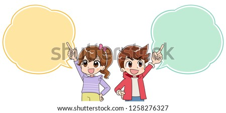 A boy and a gir happy. Pointing a speech balloon