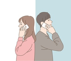 A boy and a girl are talking on the phone with their back to back. hand drawn style vector design illustrations.