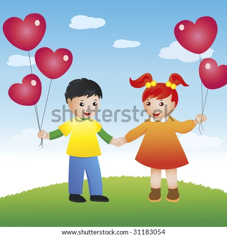 girl and boy holding hands anime. cartoon girl and oy holding