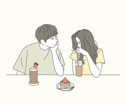 A boy and girl couple are sitting in a cafe and looking at each other tenderly. hand drawn style vector design illustrations.