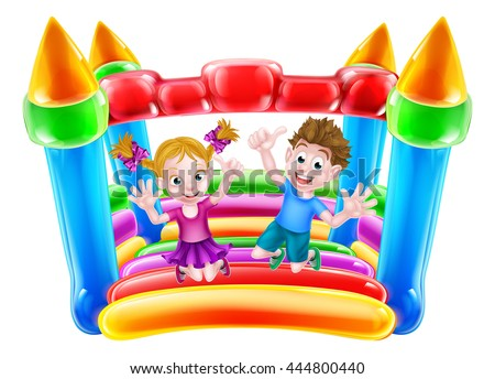 A boy and girl jumping on a bouncy house or infaltable castle