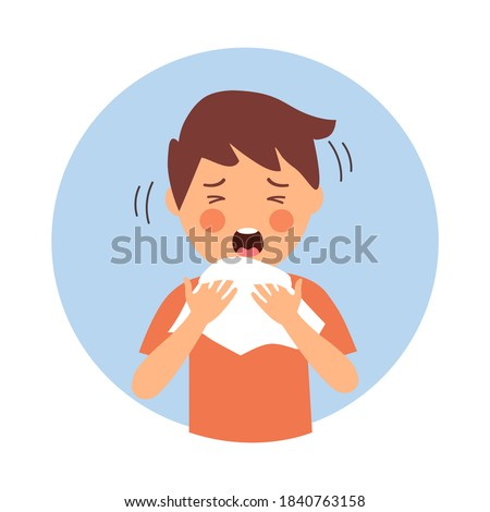 A boy children suffering from flu in winter season. Sad kids sneezing in handkerchief or tissue paper. Flu or cold allergy symptom cartoon. Influenza treatment. COVID-19 Coronavirus infection.