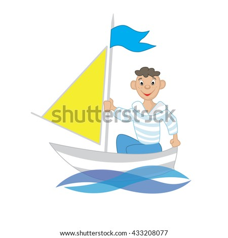 a boy floats on a sailing boat