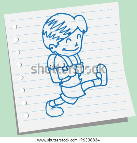 a boy go to school doodle illustration vector
