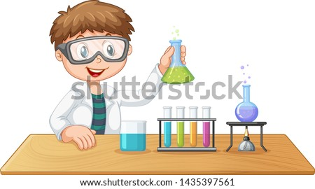 A boy in chemistry class illustration