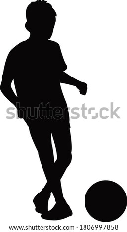 a boy playing football, silhouette vector