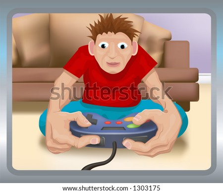 A boy playing on a games console.