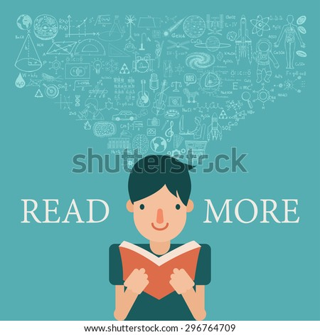 a boy reading a book with