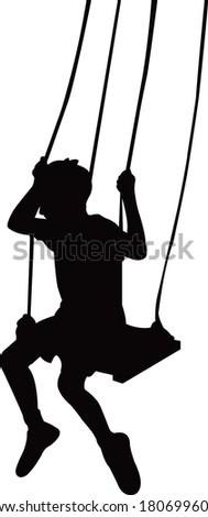 a boy swinging body silhouette vector