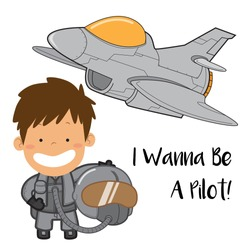 A Boy want to be a jet fighter pilot with uniform and helmet with aircraft as its background cartoon vector stock