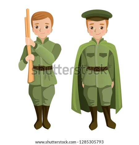 A boy with a wooden rifle in the costume of an ordinary soldier. The child is dressed in an officer with a raincoat. Green costumes in honor of the Victory Day holiday