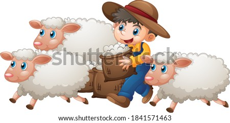 A boy with three cute sheep on white background illustration Foto stock ©