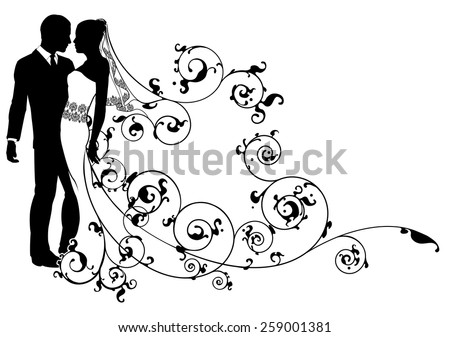 a  bride and groom dancing or