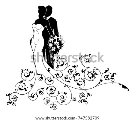 A bride and groom wedding couple in silhouette, the bride in a white bridal dress gown holding a floral bouquet of flowers with an abstract floral pattern design