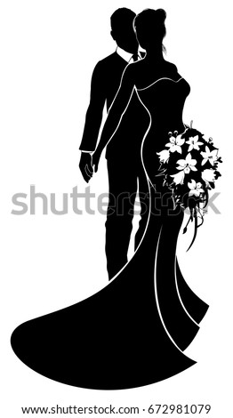 A bride and groom wedding couple in silhouette with the bride in a bridal dress gown holding a floral bouquet of flowers