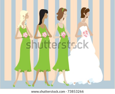 A bride standing with her bridal party.