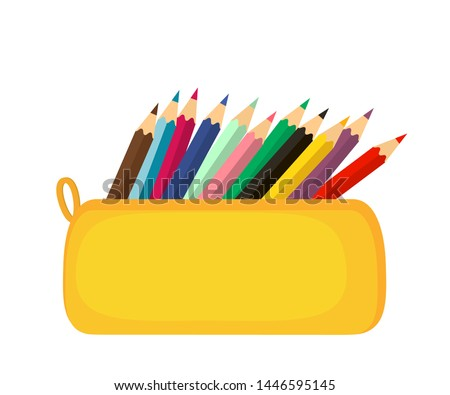 A bright school pencil case filled with school stationery, such as pens, pencils, Concept of September 1, go to school. flat vector illustration on white background