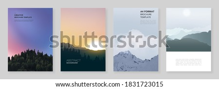 A4 brochure layout of covers templates for flyer leaflet, A4 brochure design, presentation, magazine, book. Fog, sunrise in morning and sunset in evening. Nature landscape backgrounds with mountains. Stockfoto ©