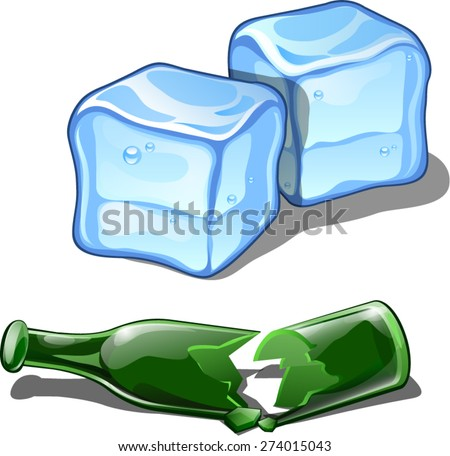 a broken bottle and ice cubes