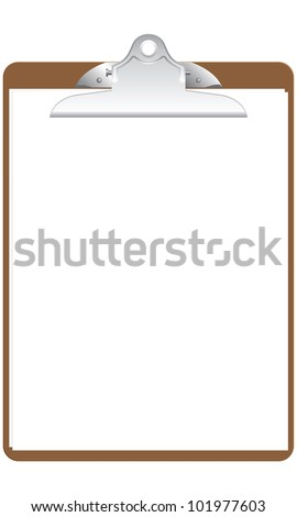 A brown clipboard with two blank pages