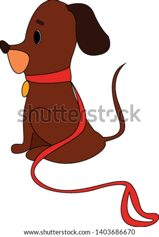 A brown puppy in a yellow pendant and the red collar has black ears bent downward, a projecting snout, and a long tail that stands upright, vector, color drawing or illustration.