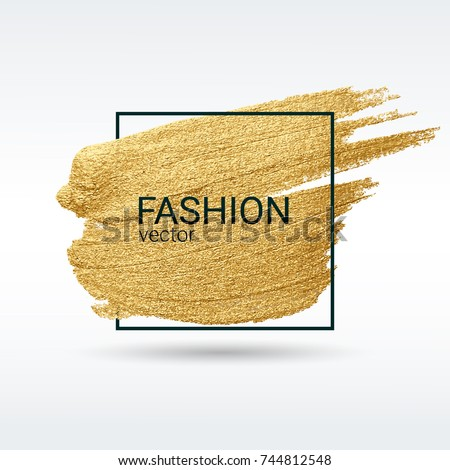 A brush stroke in the frame. Gold shiny grunge texture. Light background. Brushstroke. Vector abstract image. A high resolution.  Black border.