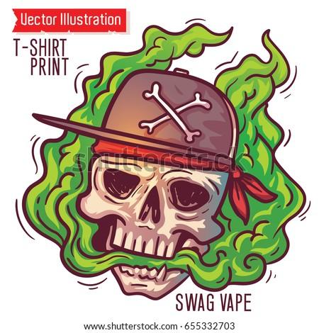 A brutal SWAG skull in smoke vapor. E-cigarettes, vape zone. Color vector clip art on vape theme. Human Skull lets steam from mouth. Hipster vapor. T-shirt print. Vector layered illustration.