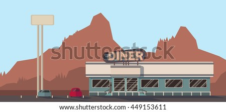 a building of diner cafe on the