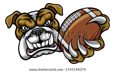 A bulldog angry animal sports mascot holding an American football ball