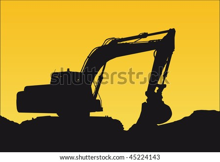 a bulldozer on a sunset