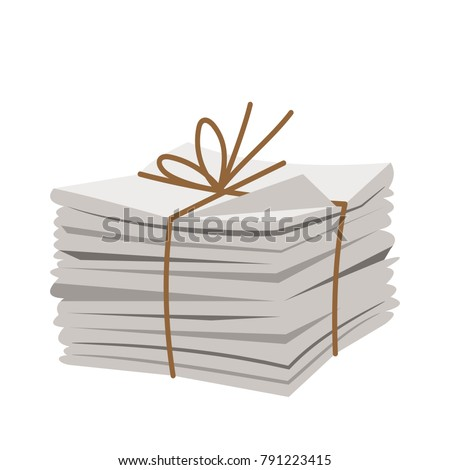 A bunch of fresh newspapers isolated on white background, vector illustration