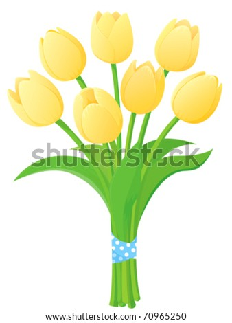 A bunch of lovely bright yellow spring tulips.