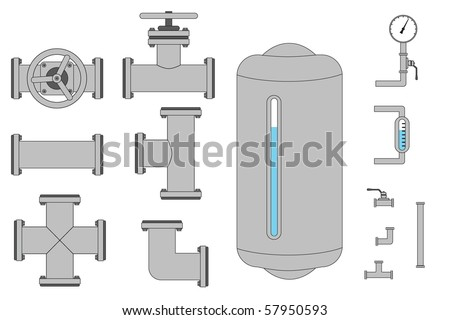 A bunch of pipe pieces that you can connect together as you wish. - stock vector