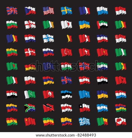 a bunch of world flags