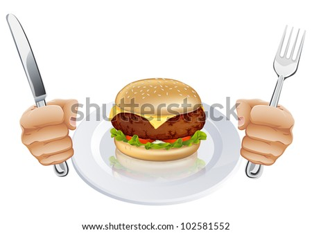 A burger on a plate with hands holding a knife and fork