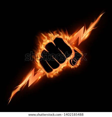 A burning fist squeezes a lightning bolt.The vector illustration symbolizing force, the power. A logo, a sign for the power companies, fight club. Design element. Vector illustration.